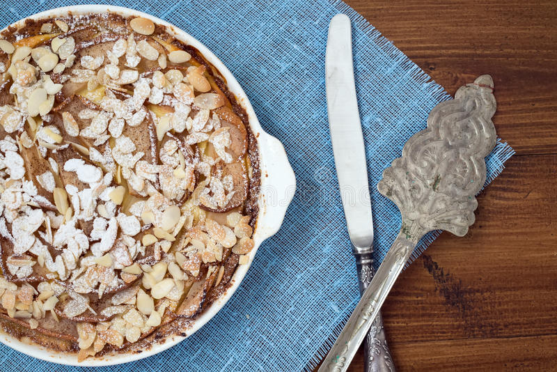 Cottage cheese tart with pear and almond royalty free stock image