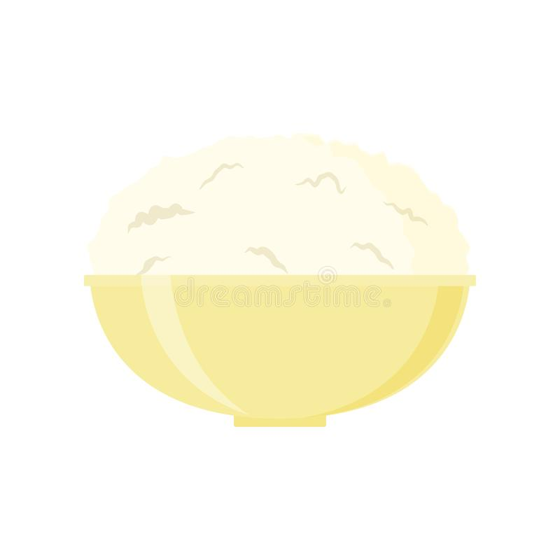 Cottage cheese vector illustration isolated on white background. I dairy product stock illustration
