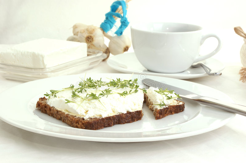 Cottage cheese with watercress. Cottage cheese with some watercress royalty free stock photography