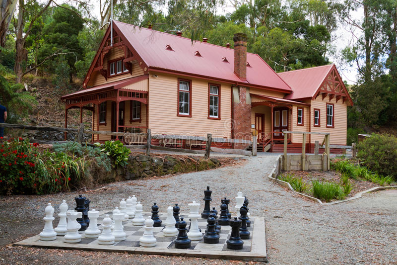 Cottage and chess set