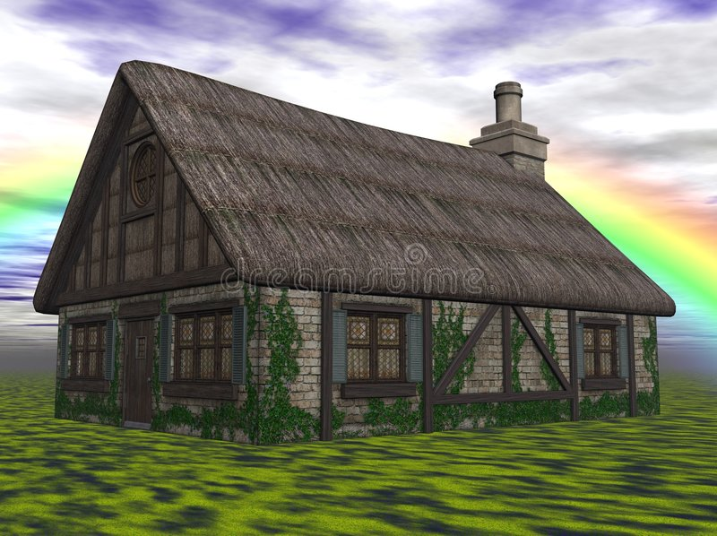 Download Cottage in countryside stock illustration. Image of thatched - 7275202