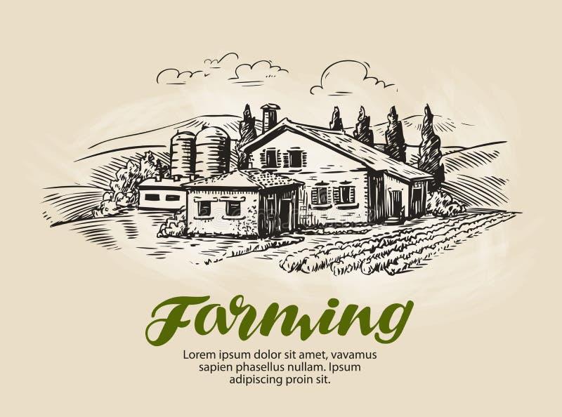 Cottage, croquis de maison de campagne Cultivez, paysage rural, agriculture, cultivant l'illustration de vecteur illustration libre de droits
