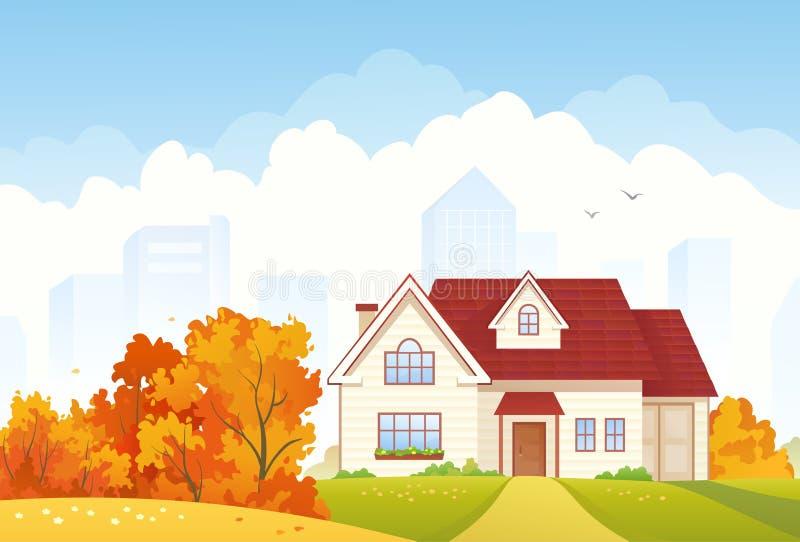 Cottage d'automne illustration libre de droits