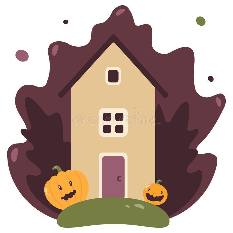 Cottage de botte d'imagination sur un pré coloré avec le lierre et les potirons illustration de vecteur