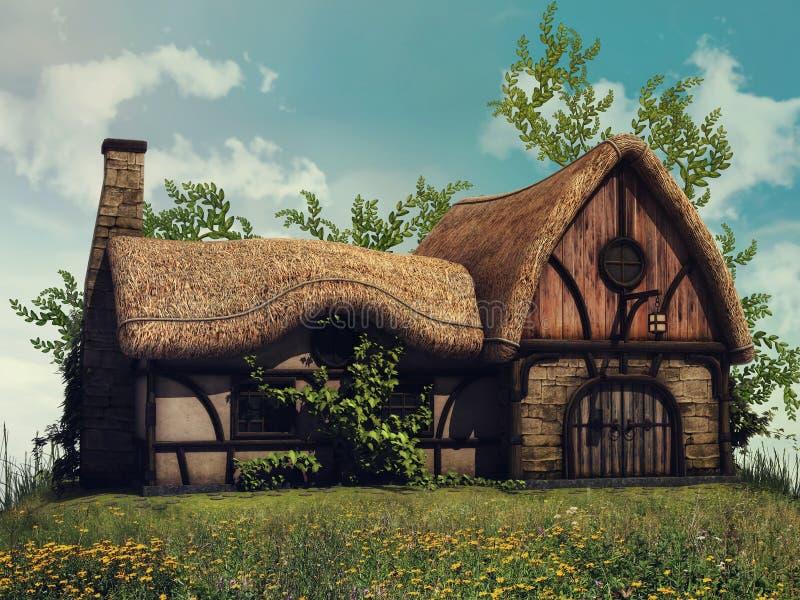 Cottage de conte de fées sur une colline illustration de vecteur