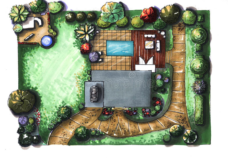 cottage de jardin de maison de dessin la vue partir du
