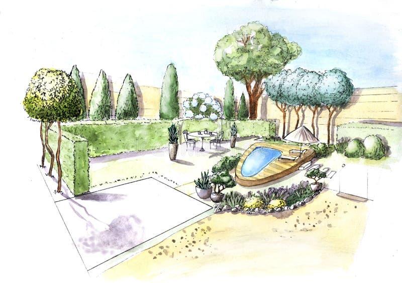 Cottage del giardino della casa del disegno immagine stock libera da diritti