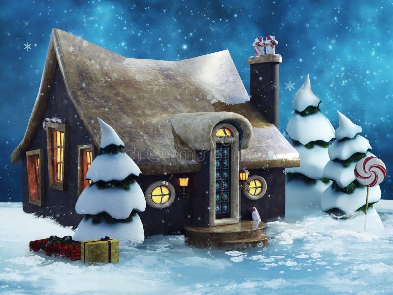 Cottage del pan di zenzero nell'inverno royalty illustrazione gratis