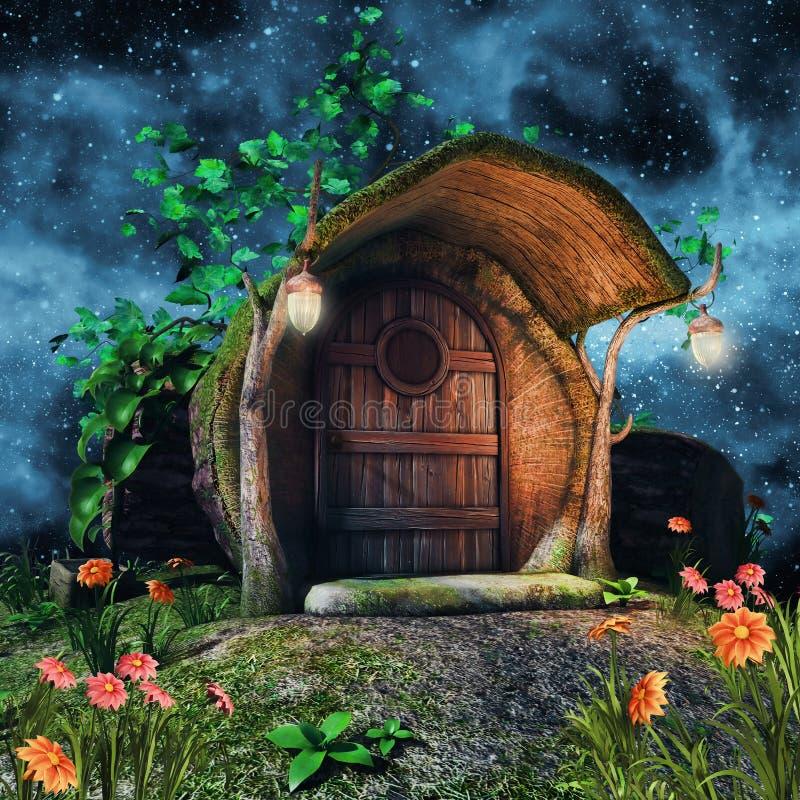 Cottage del tronco di albero illustrazione di stock
