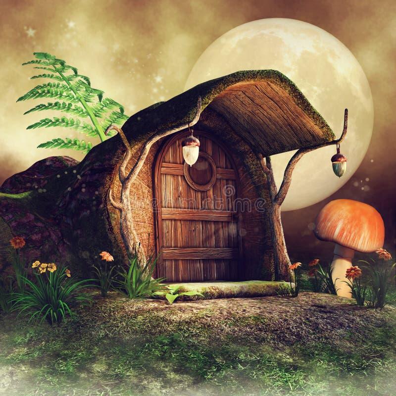 Cottage del tronco di albero con la felce illustrazione di stock