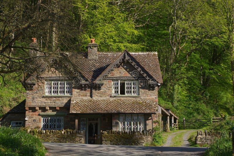 Cottage dell'arenaria in Devon del nord, Inghilterra fotografie stock libere da diritti