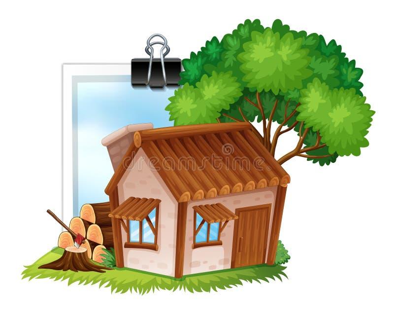 Cottage di legno su photoframe illustrazione vettoriale