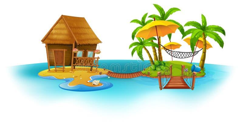 Cottage di legno sull'isola illustrazione di stock