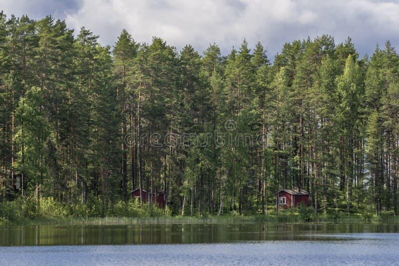 Cottage finlandesi tipici nel legno, Punkaharju, distretto del lago, Finlandia fotografia stock
