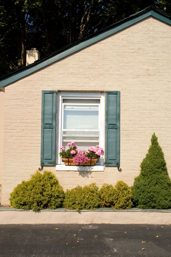 Download Cottage with flower boxes stock image. Image of partial - 3366391