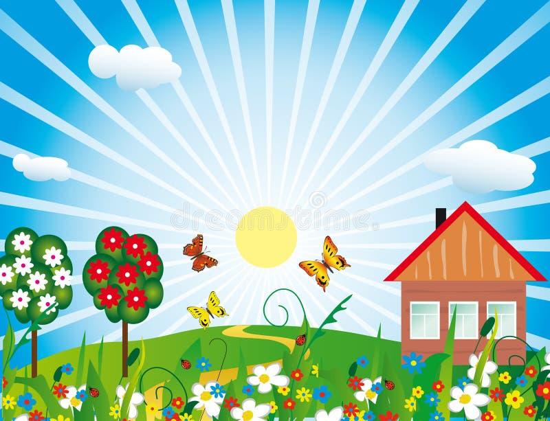 Cottage fra i fiori royalty illustrazione gratis