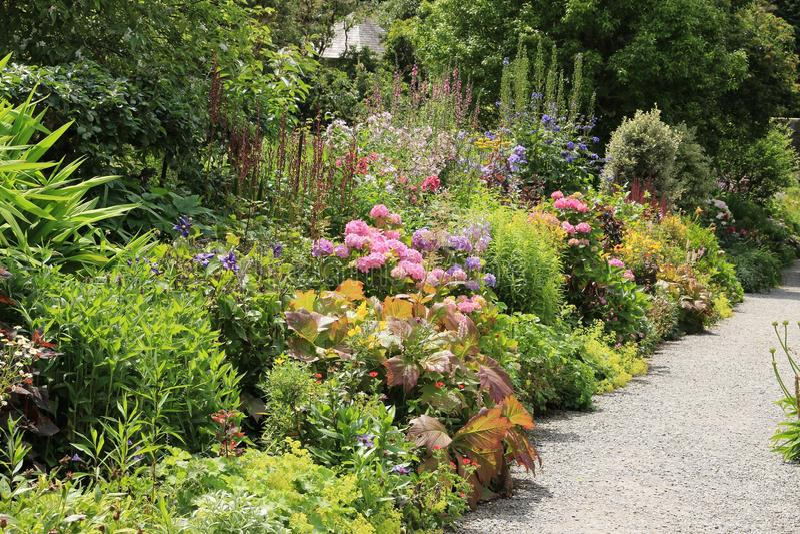 Cottage garden on Garinish Island in Ireland in the summer. stock image