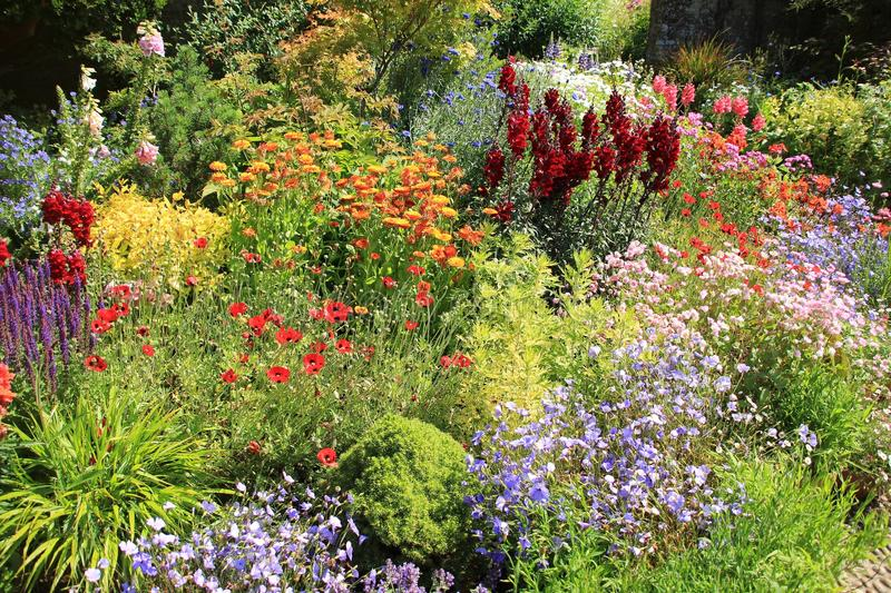 Cottage garden in Great Dixter House & Gardens in the summer. stock photo