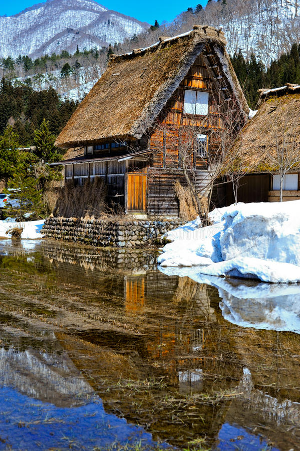 Cottage at Gassho-zukuri Village/Shirakawago, Japan. Is famous for the Gassho style architecture and is a UNESCO World Heritage Site stock photography