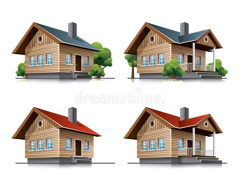 Cottage house cartoon icons royalty free illustration