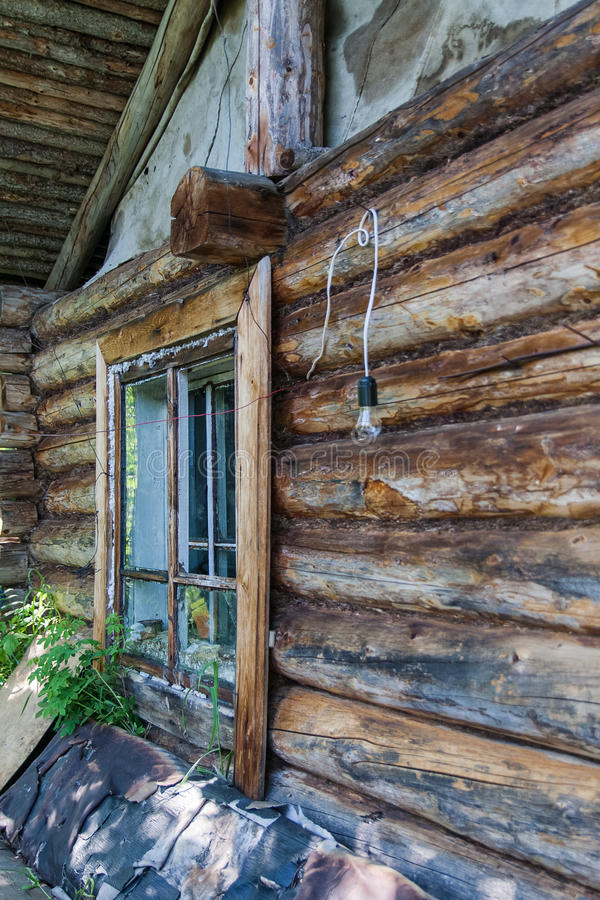 Cottage the hut of unknown hunters. The shores of the great river. Siberia royalty free stock photography