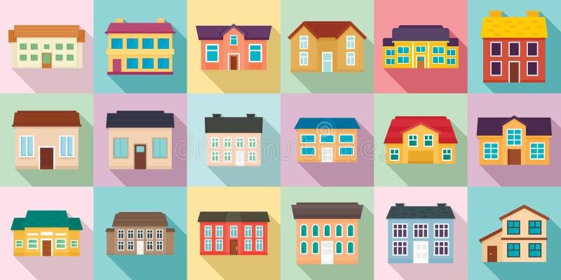 Cottage Icons Set, flach Stil lizenzfreie abbildung
