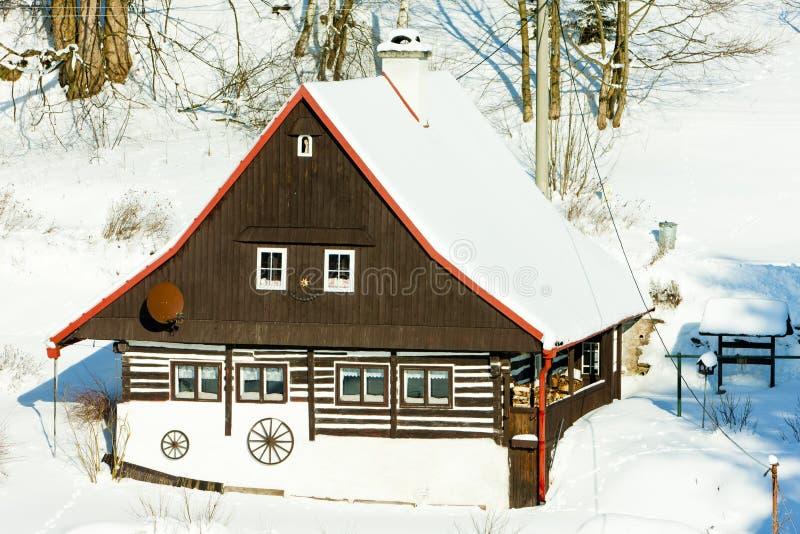 Cottage in inverno immagine stock