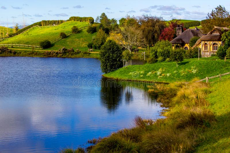 Cottage by the lake, Matamata stock images