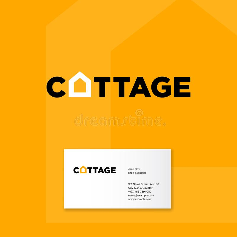 Cottage logo. Building and construction icon. Real estate emblem. Letters and O letter like silhouette of house. Identity. Business card vector illustration