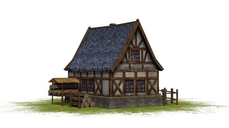 Cottage médiéval sur un espace vert - vue de face illustration de vecteur