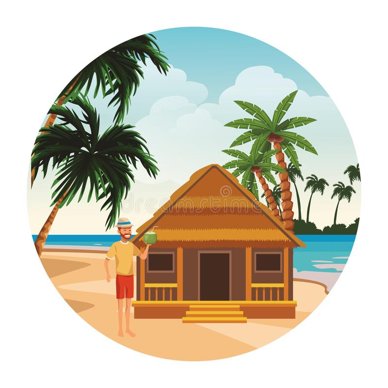 Cottage and man. With coconut palm tree seascape round icon vector illustration graphic design stock illustration