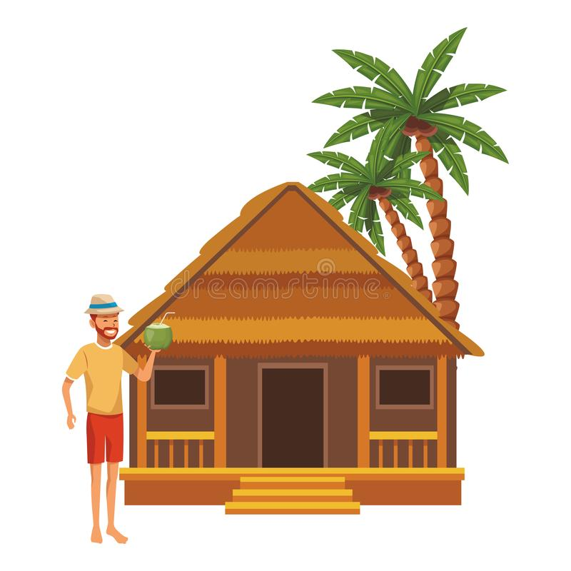 Cottage and man. With coconut palm tree vector illustration graphic design royalty free illustration