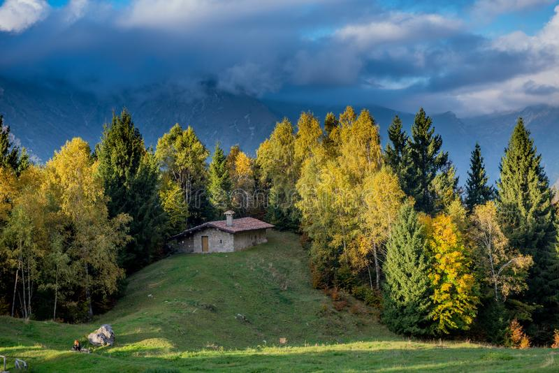 Cottage in the middle of nature royalty free stock photo