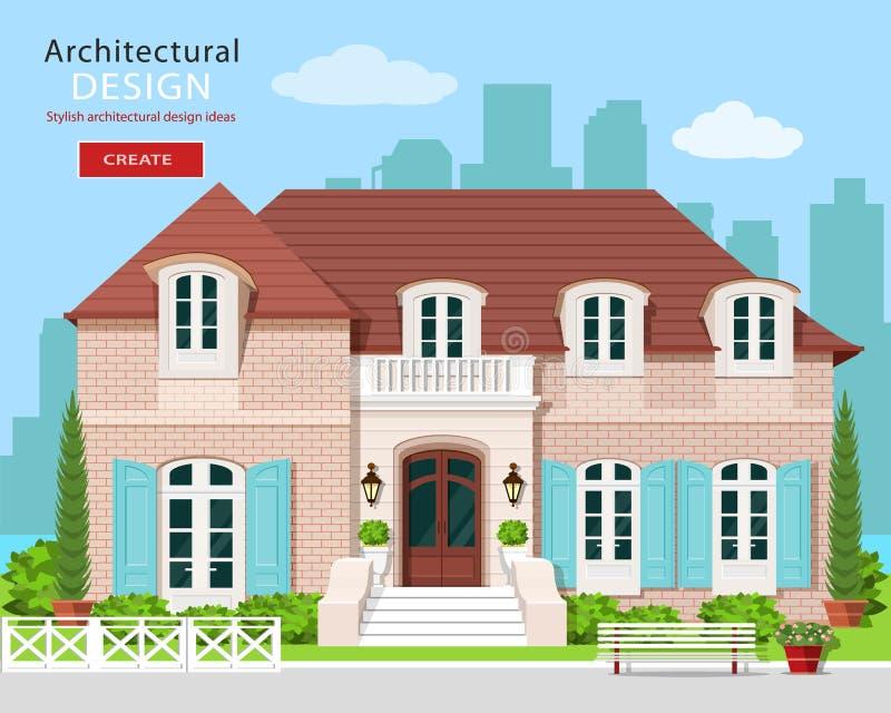 Cottage moderno di stile piano illustrazione vettoriale