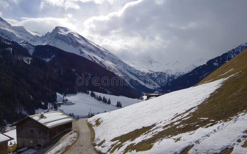 Cottage in mountains royalty free stock photos