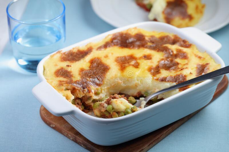 Cottage pie in a baking dish royalty free stock photo