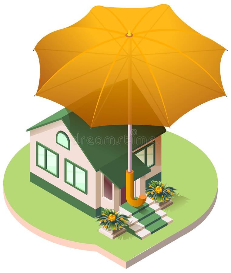 Cottage privé de maison sous une assurance d'immobiliers de parapluie illustration libre de droits