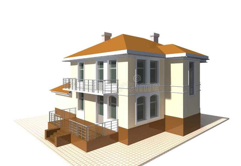 Cottage privé, illustration du bâtiment résidentiel 3v sur le fond blanc illustration de vecteur