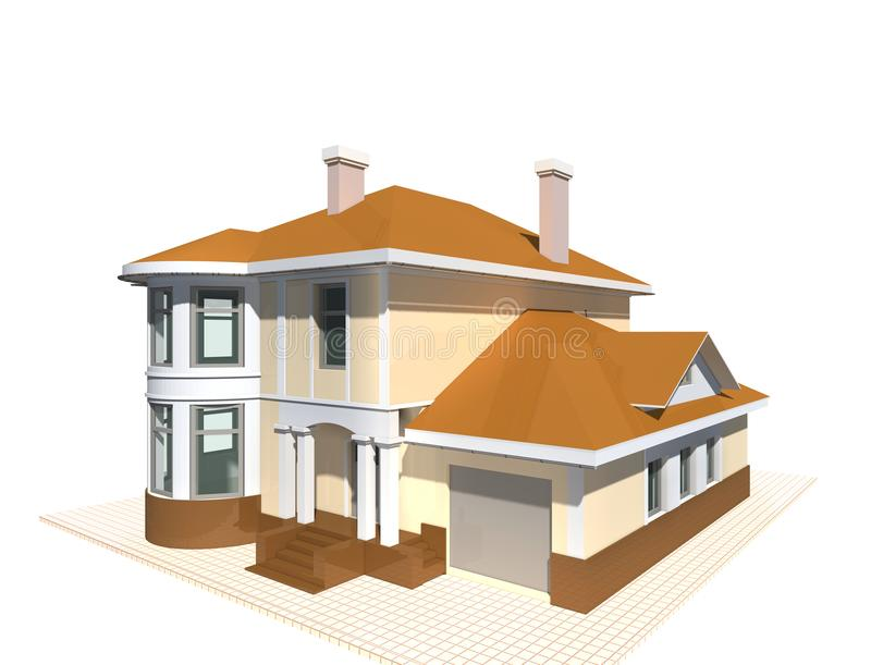 Cottage privé, illustration du bâtiment résidentiel 3v sur le fond blanc illustration libre de droits