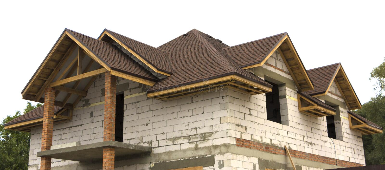 Cottage in the process of construction Wooden arch roof. Roof under construction royalty free stock photography