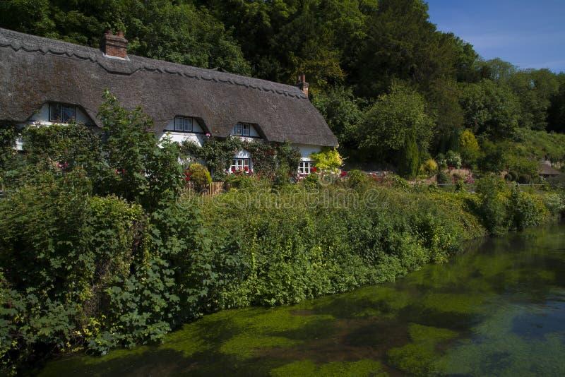 Cottage ricoperto di paglia accanto alla prova del fiume, Wherwell, Hampshire, inglese fotografia stock libera da diritti