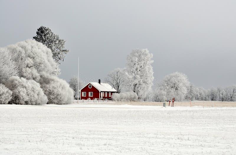 Cottage rosso nell'inverno immagine stock libera da diritti
