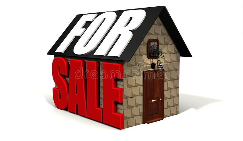 Cottage for sale. Cottage with for sale on it royalty free illustration