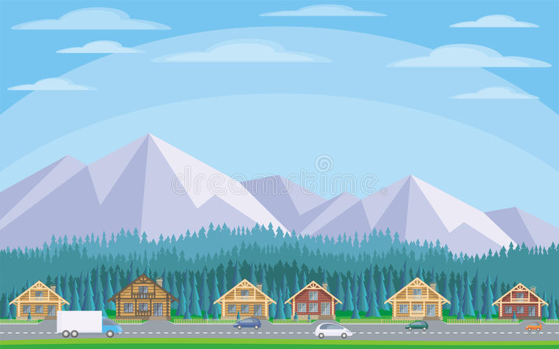 The cottage settlement. The image of the cottage settlement against the background of the coniferous forest and mountains. Beautiful summer landscape. Vector stock illustration