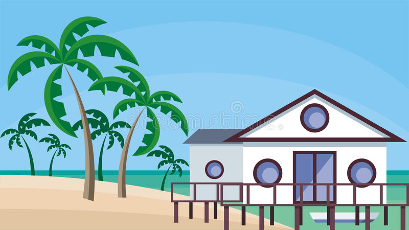 Cottage on the shore vector illustration