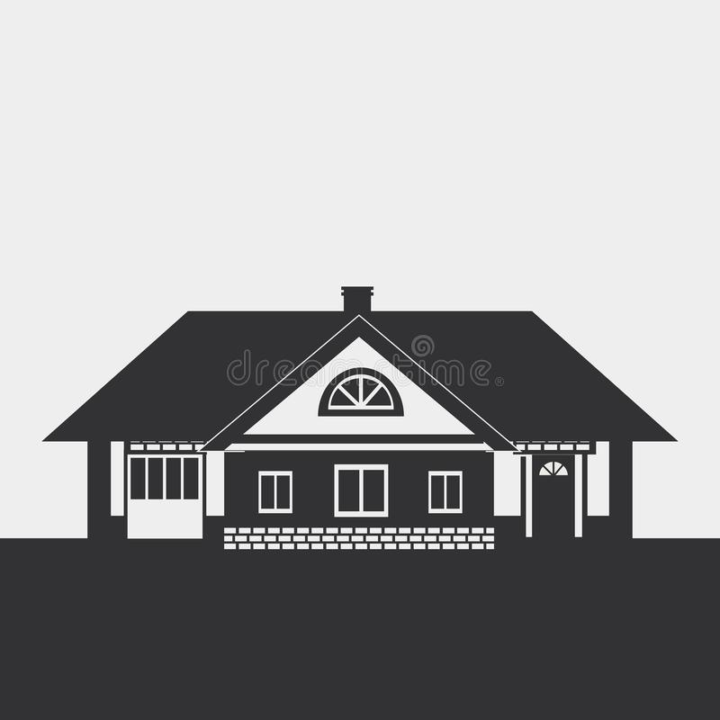 Cottage. Silhouette drawing of a large cottage with a loft. Dark figure on a light background stock illustration