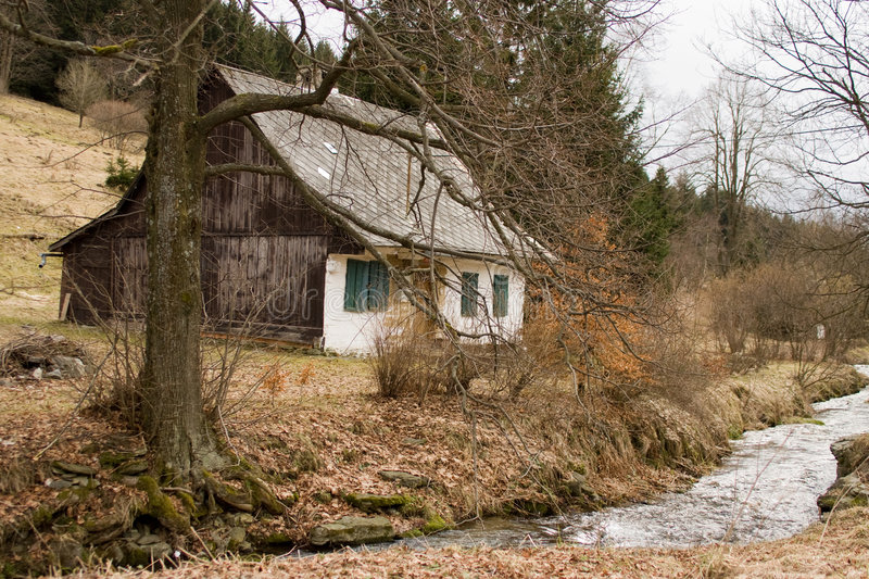 Cottage and stream royalty free stock photography