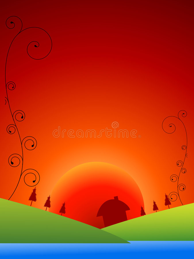 Cottage in sunrise. With swirls vector illustration