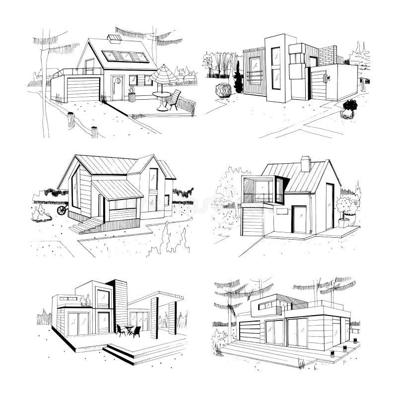 Cottage tiré par la main maisons résidentielles privées modernes illustrations de croquis réglées illustration stock