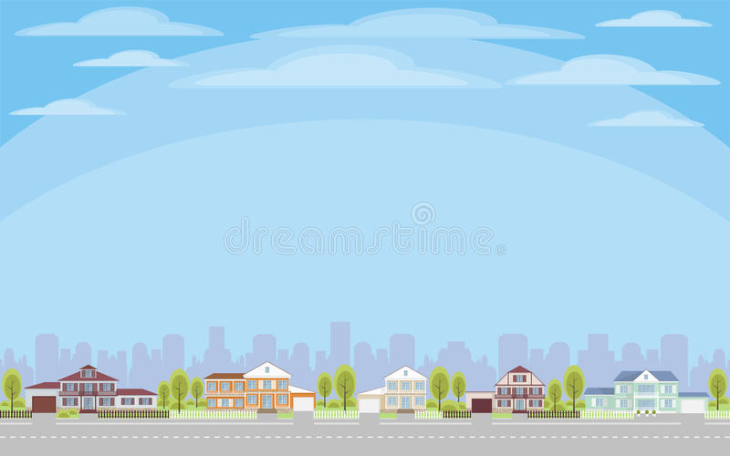 Cottage village background. The cottage settlement on the suburb of the big city. Vector background stock illustration